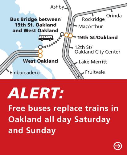 Map of weekend bus bridge through Oakland