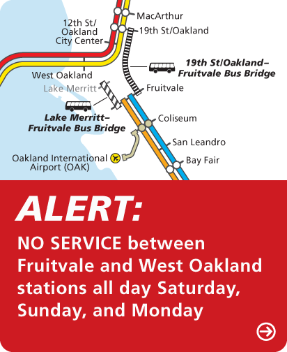 Map of Closure between Fruitvale & Lake Merritt