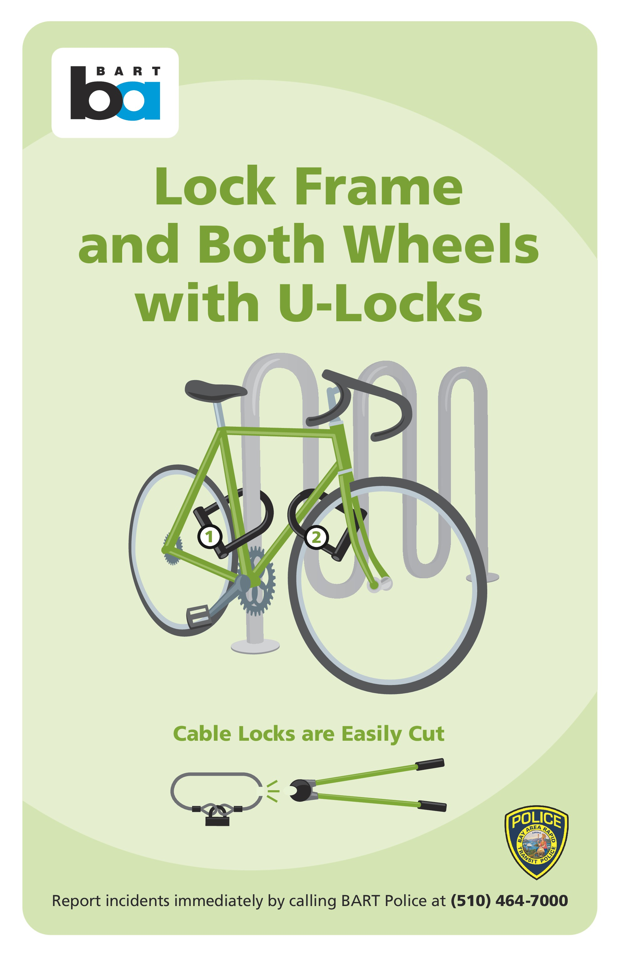 Image of how to lock bike sign