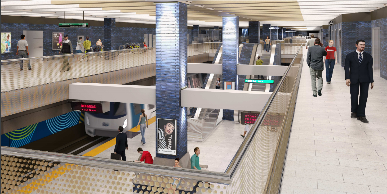 19th St Station Modernization rendering concourse and platform