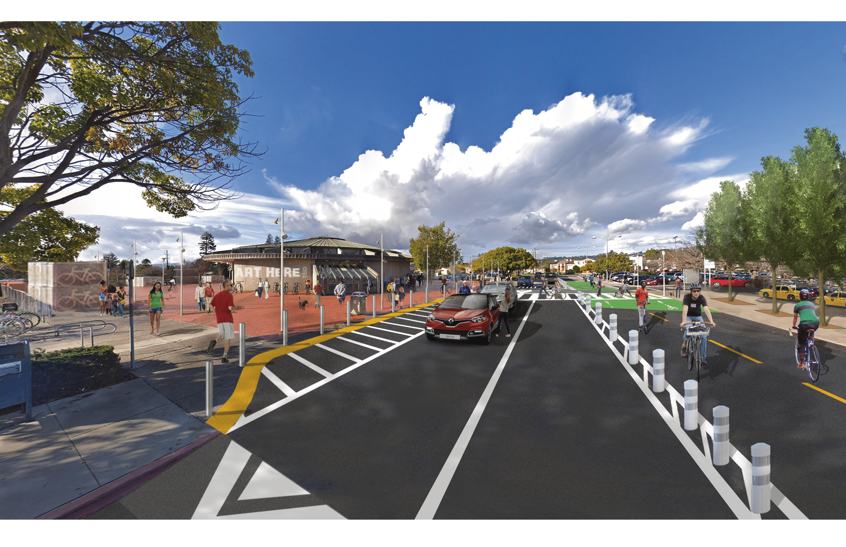 View of East Drive with new speed table and two-way cycle track in front of station entrance