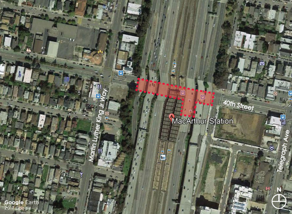 Aerial image of the MacArthur Station location with the project area under the freeway highlighted