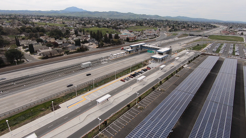 Solar carport by Highway 4 and Antioch BART station