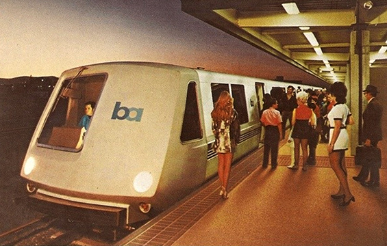 Postcard of original BART train car and platform circa early 1970s by Tom Tracy