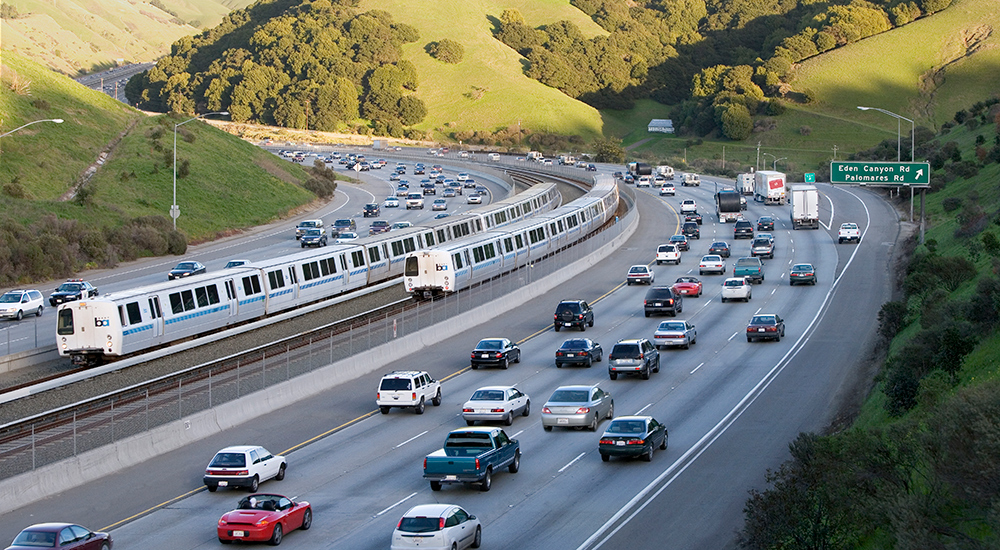 BART trains and traffic relief