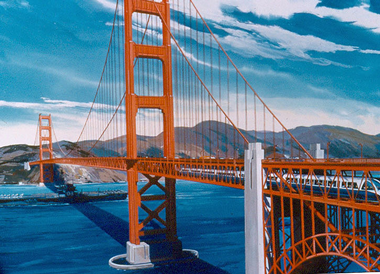 Artist's rendering of BART on the Golden Gate Bridge