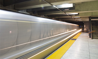 BART train passing through station