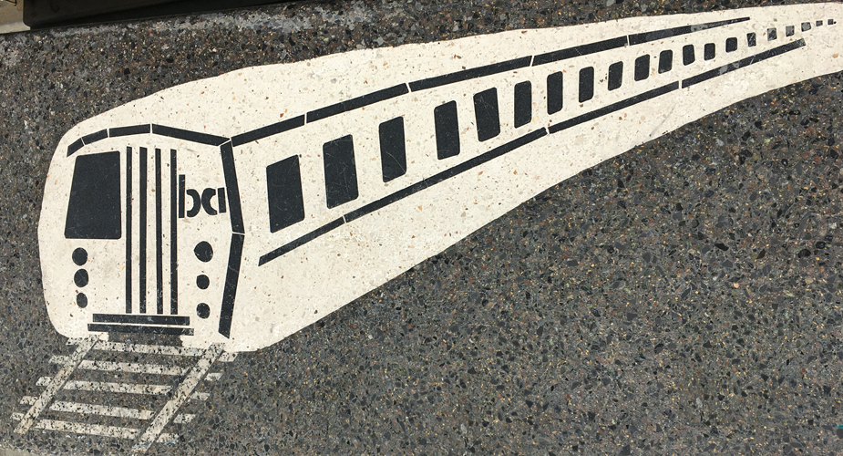 Mosaic bench with image of a BART car