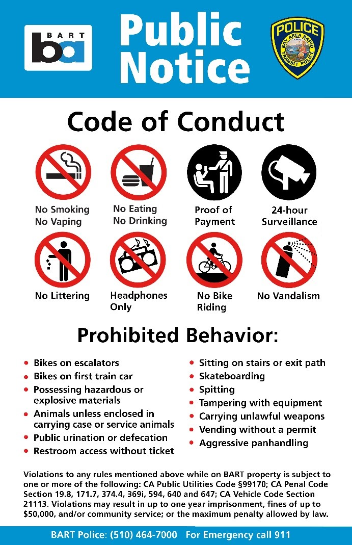 BART Passenger Code of Conduct