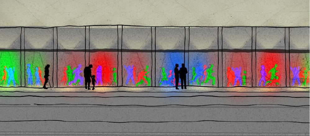 Crowds in motion concept image 2, wall elevation