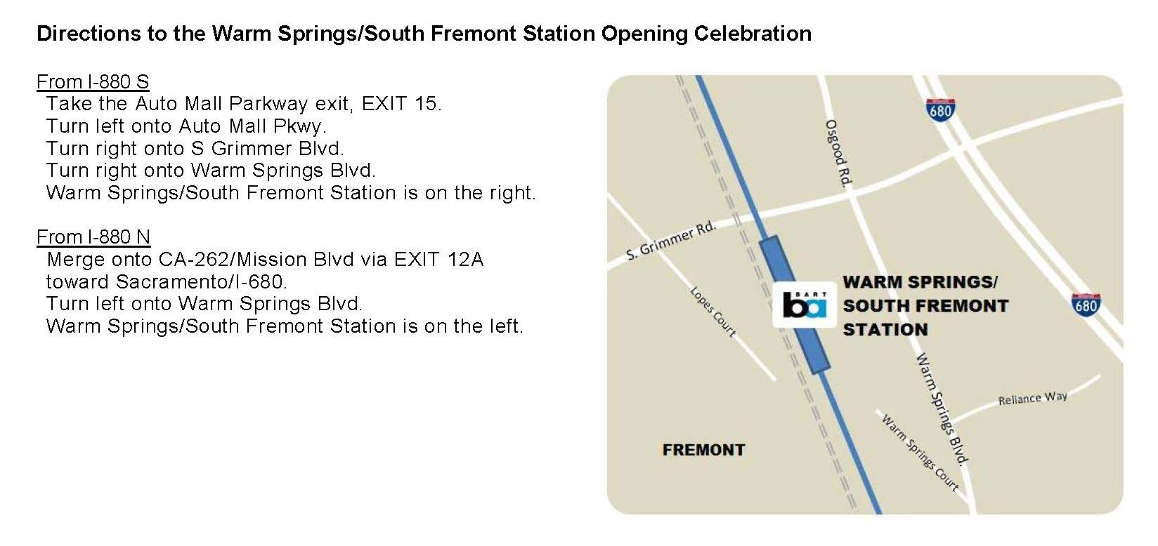 Directions to Warm Springs / South Fremont Station