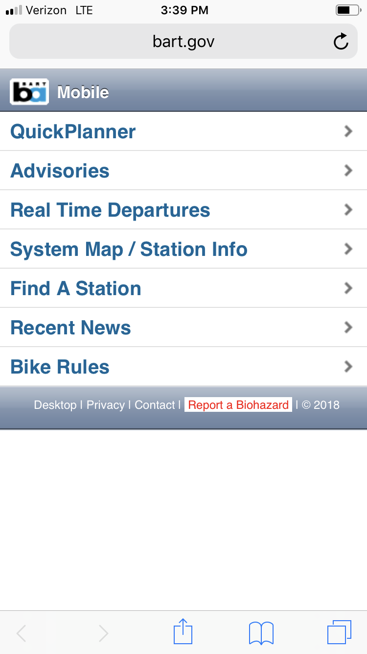 BART mobile site