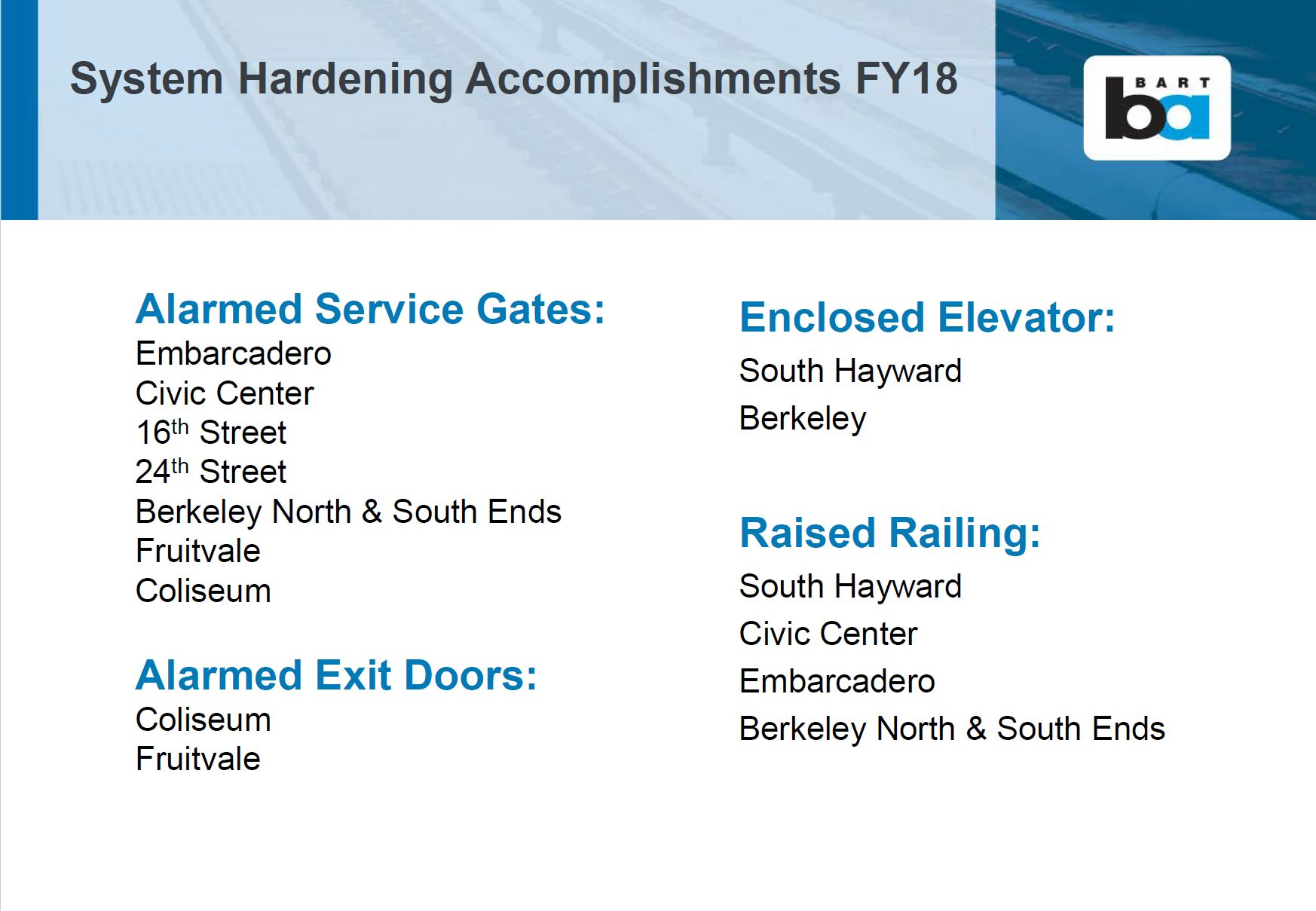 Station hardening accomplishments FY 18