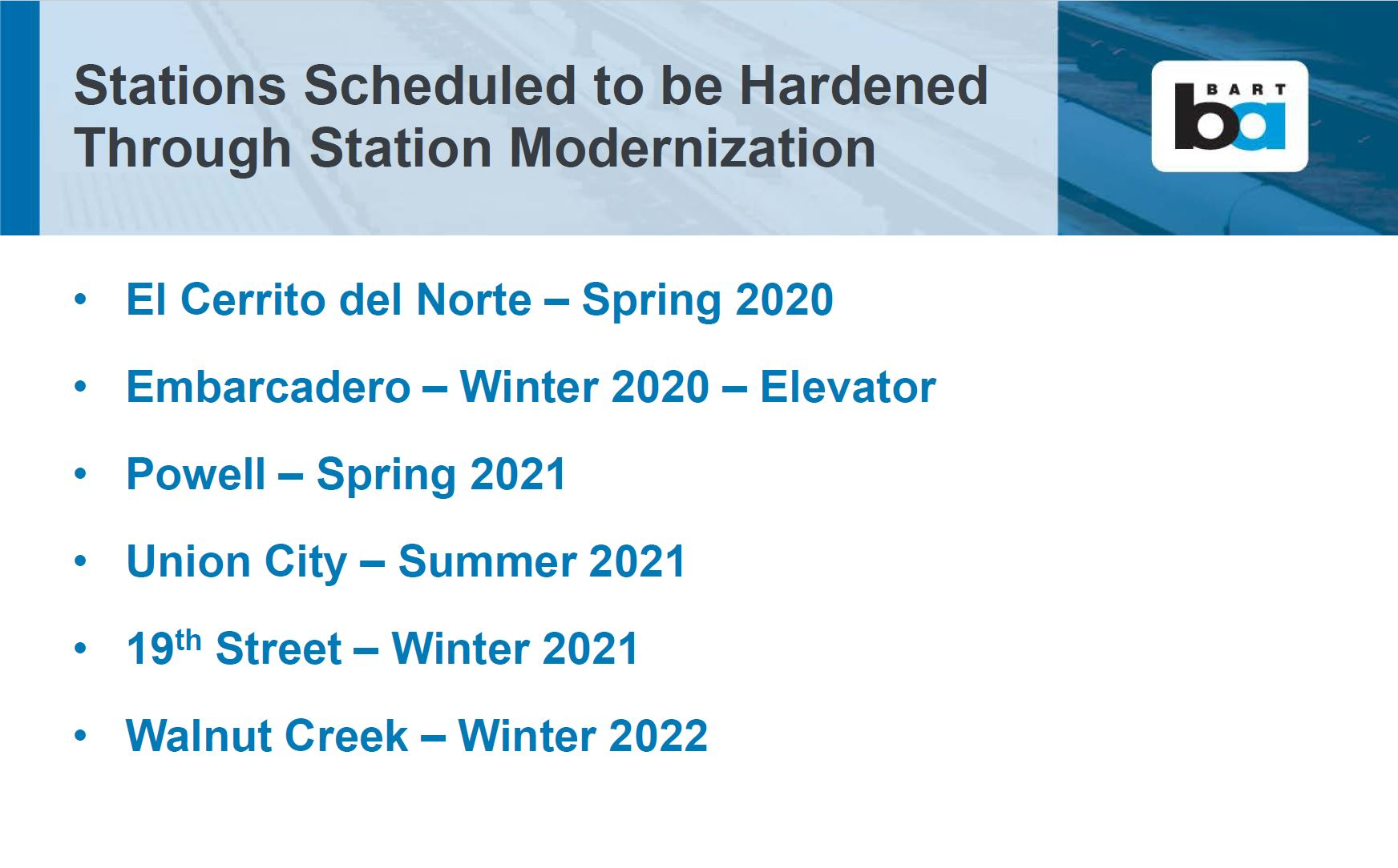 Stations being hardened through modernization
