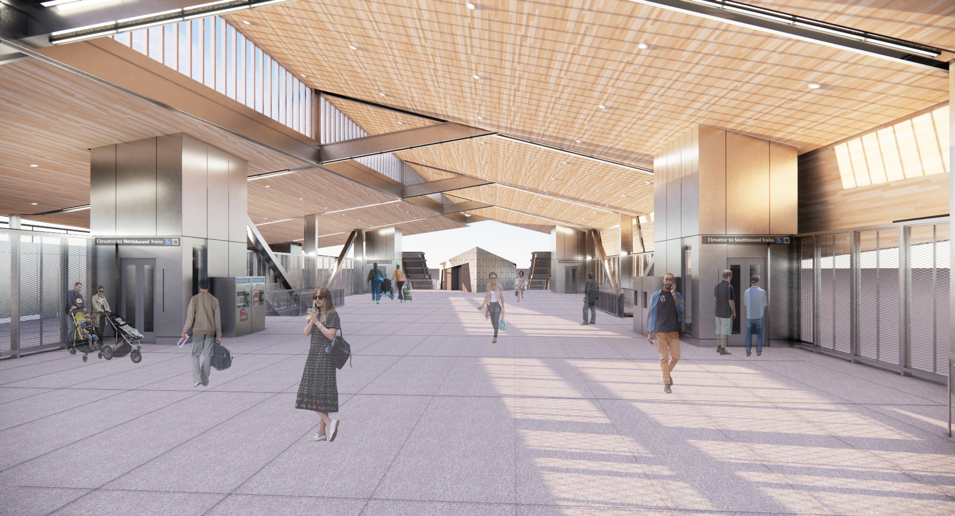 Image of the conceptual design for the concourse level of the new Irvington station looking south
