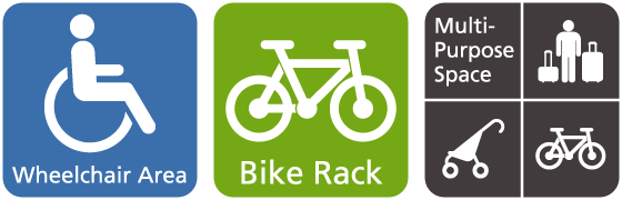 Accessibility, bicycle and multi-use space icons