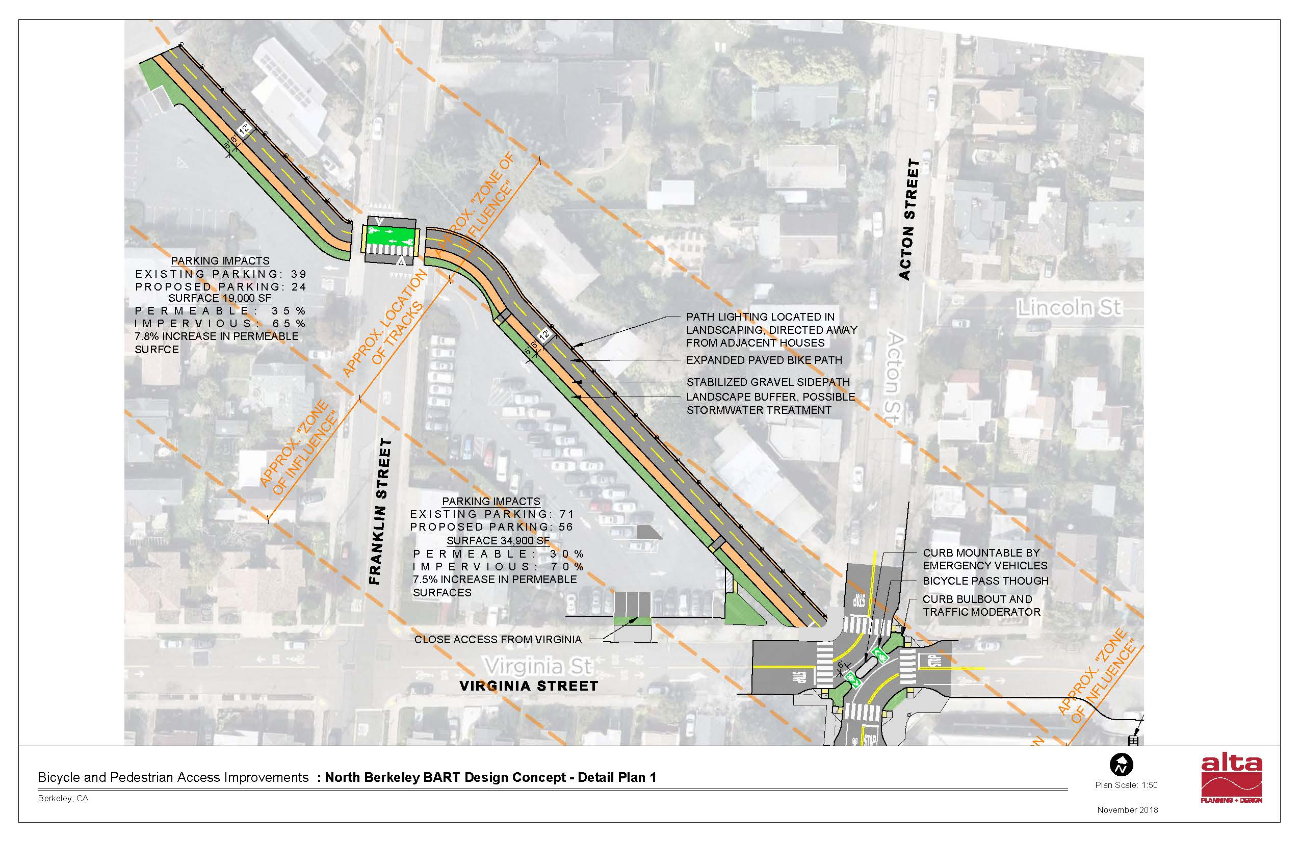 Plan of remote lots with Ohlone Greenway improvements.