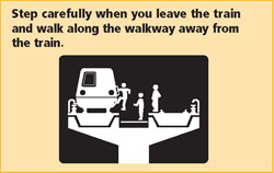 Step carefully when you leave the train and walk along the walkway away from the train.