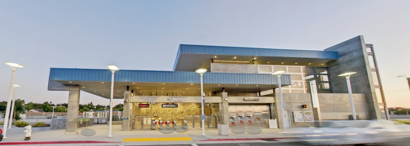 Image of the front facade of the Antioch BART Station