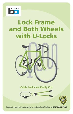 Image of proper bike locking technique.