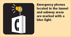 Emergency phones are located in the tunnel and subway areas and marked with a blue light.