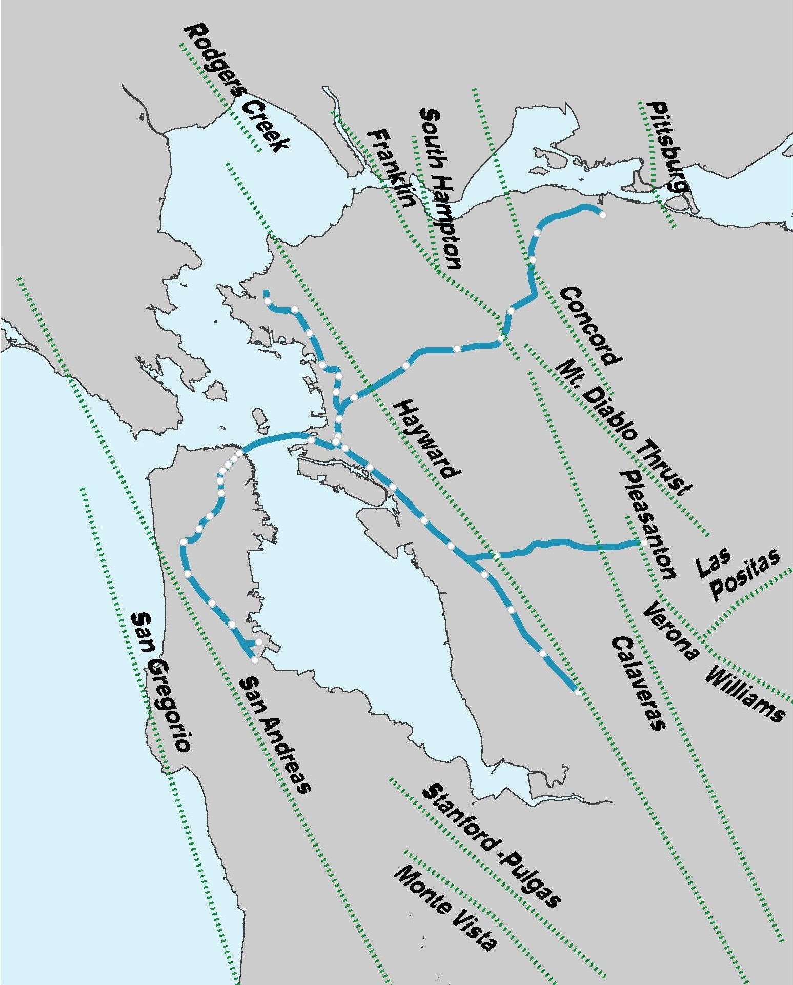 Bay Area seismic fault line map