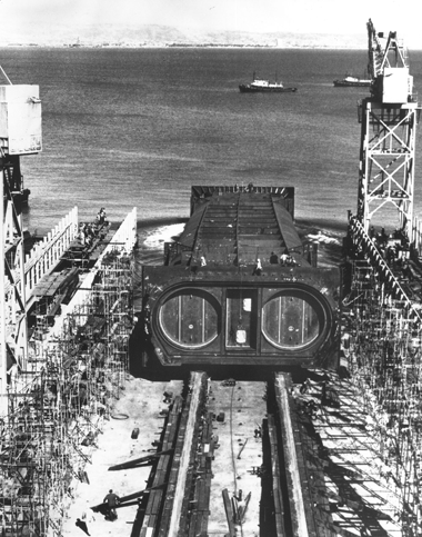 A section of the Transbay Tube being lowered into San Francisco Bay