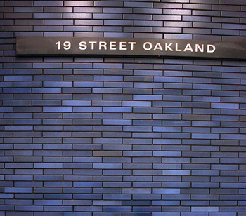 blue tiles of 19th St. Station