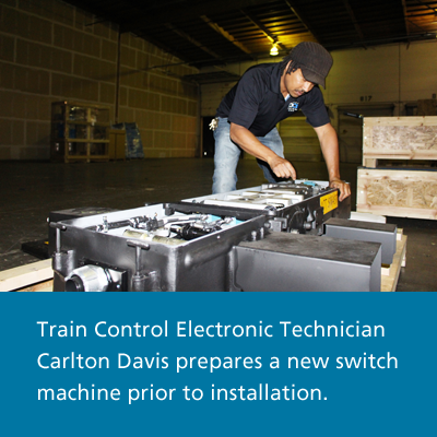 Train Control Electronic Technician prepares a switch machine