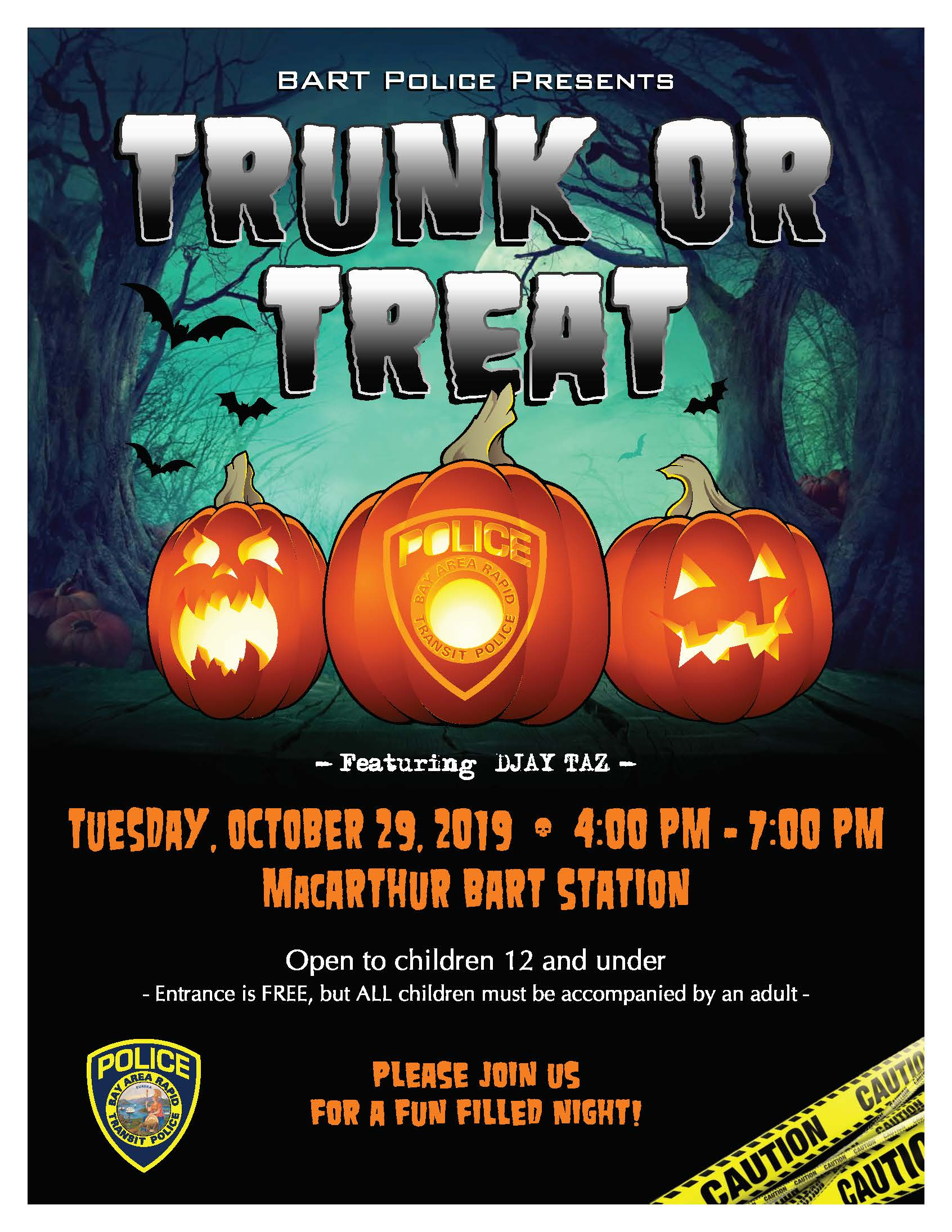 2019 BART PD Trunk or Treat flyer