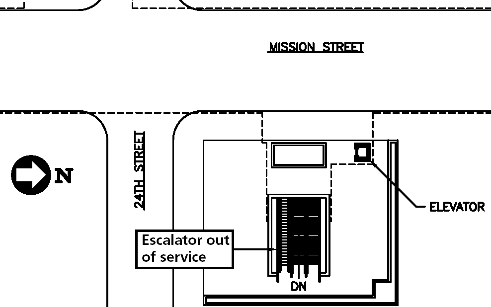 Escalator location northeast of 24th street