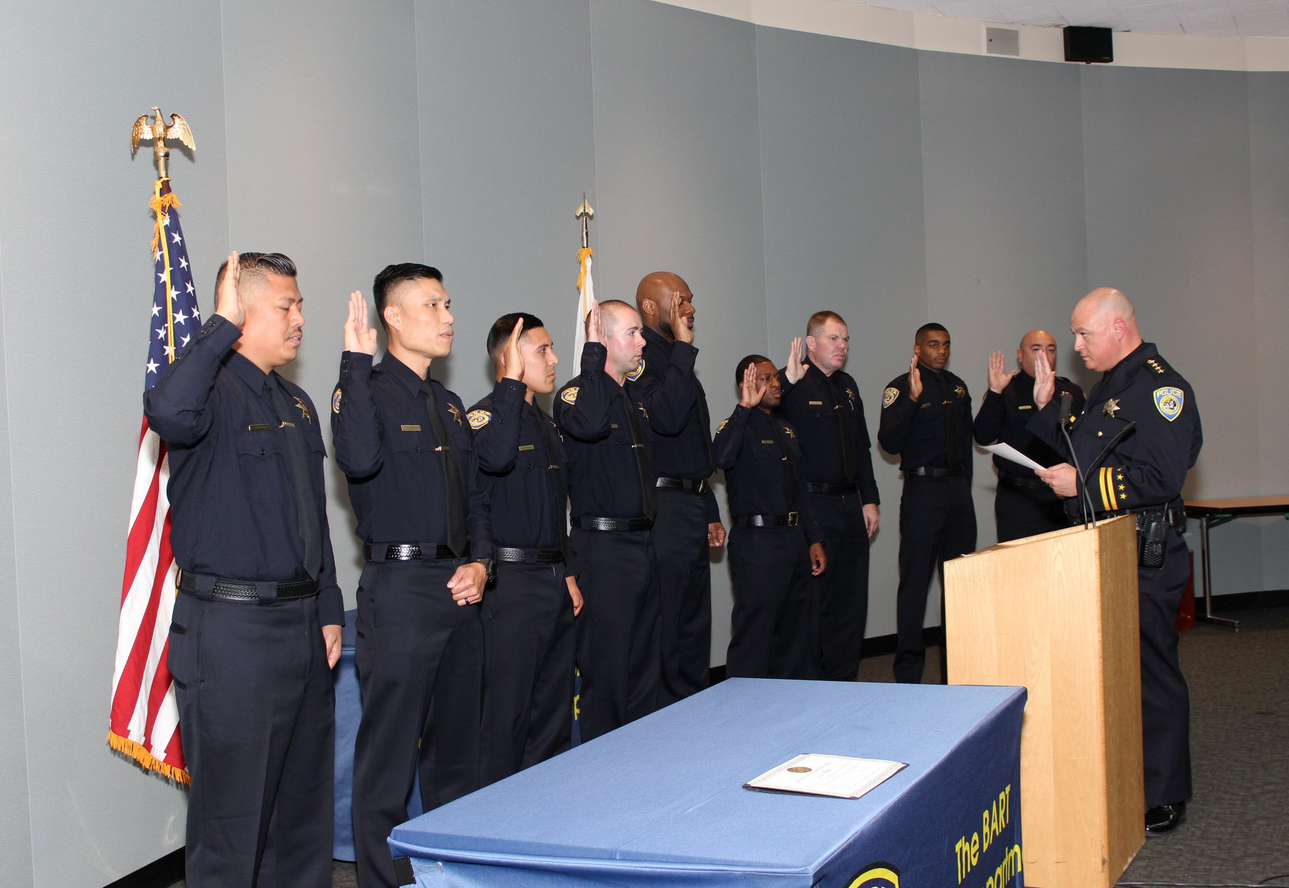 Interim Chief Ed Alvarez swears in police officers