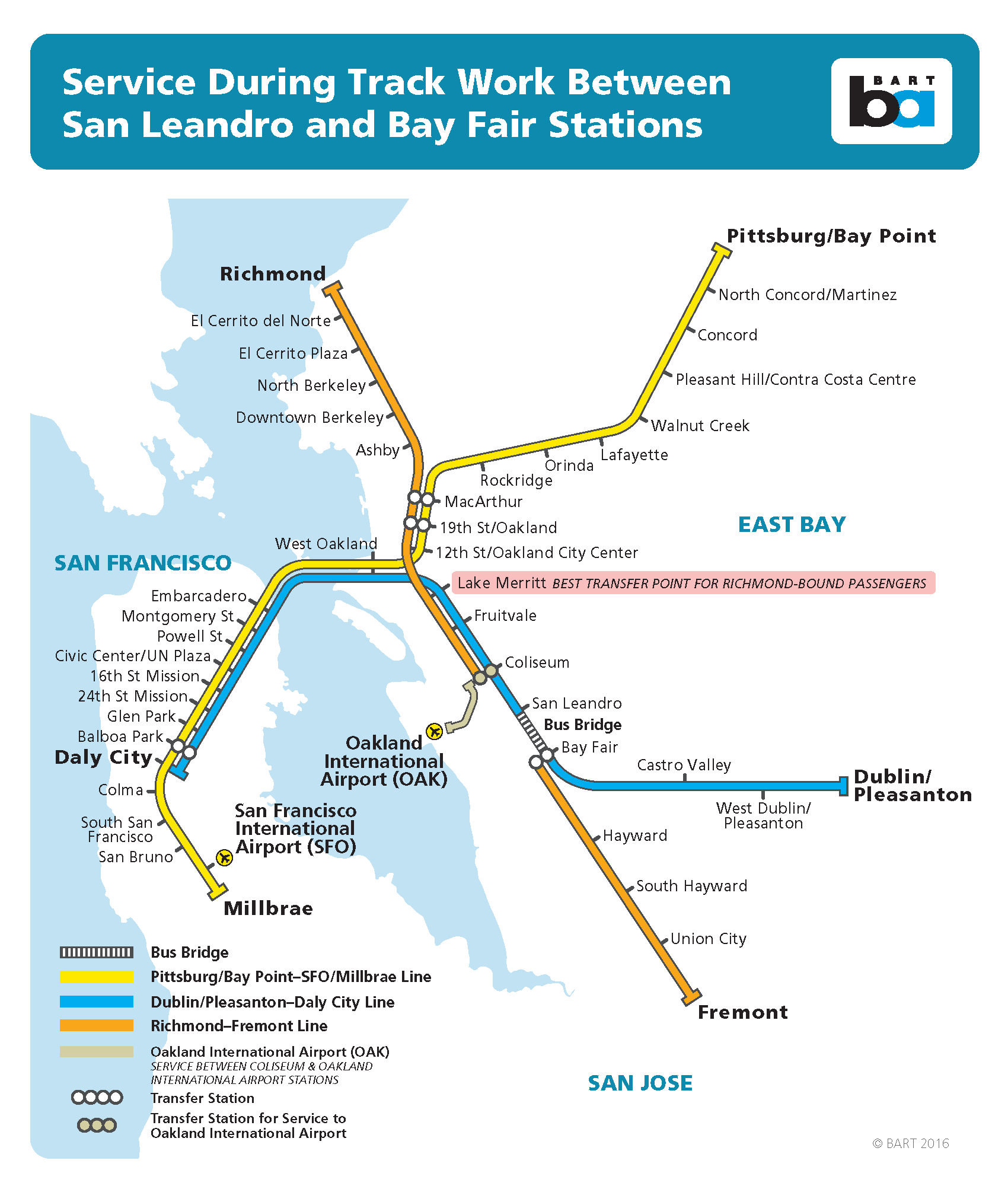 bus bridge between san leandro-bay fair to end at 3pm on monday for