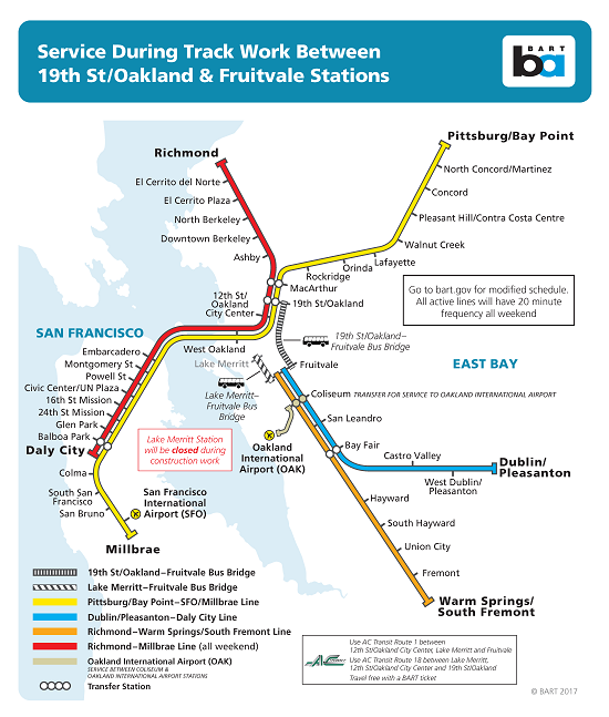 Map of bus bridge between Fruitvale & 19th