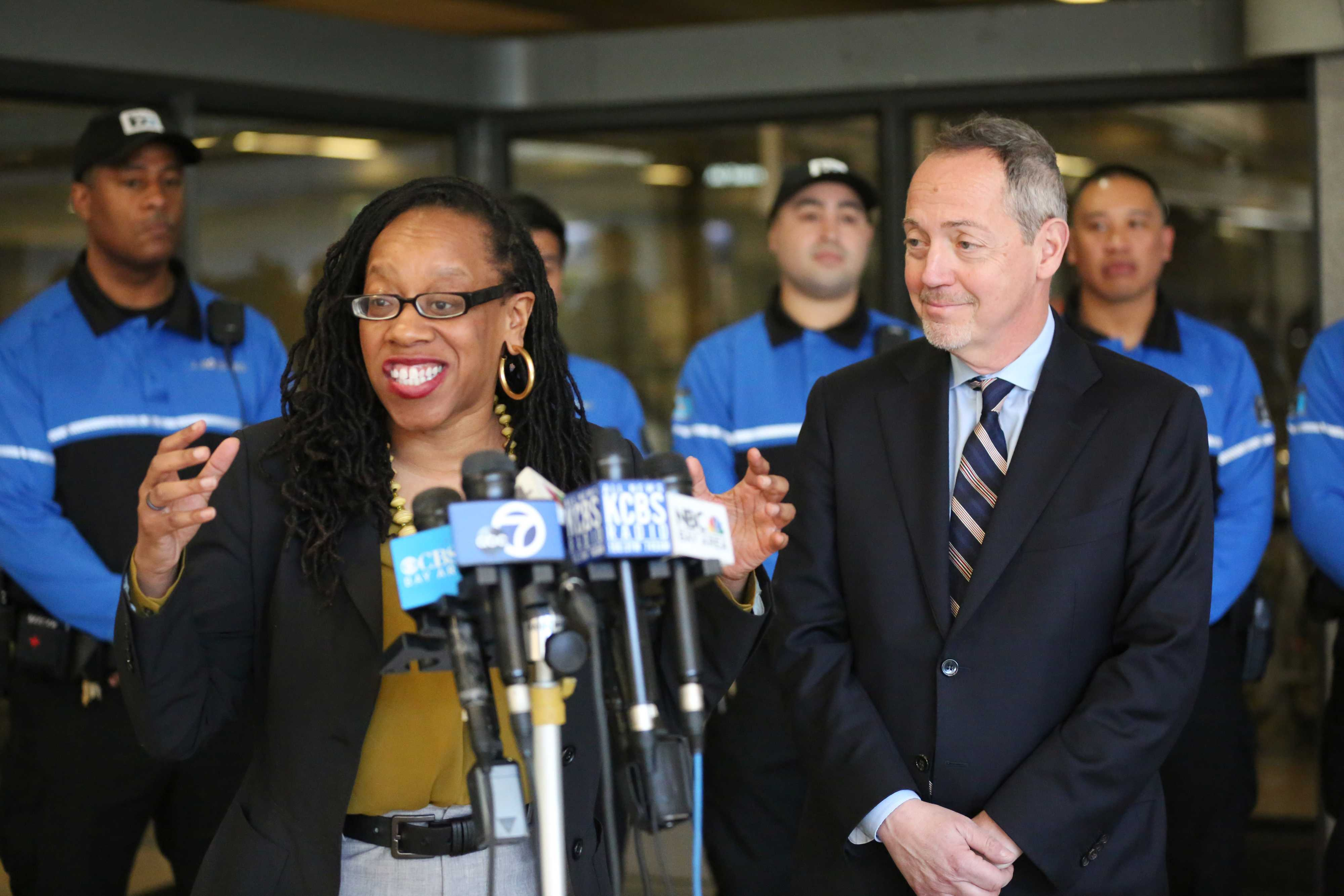 BART Board President Lateefah Simon and Board Member Bevan Dufty at press conference