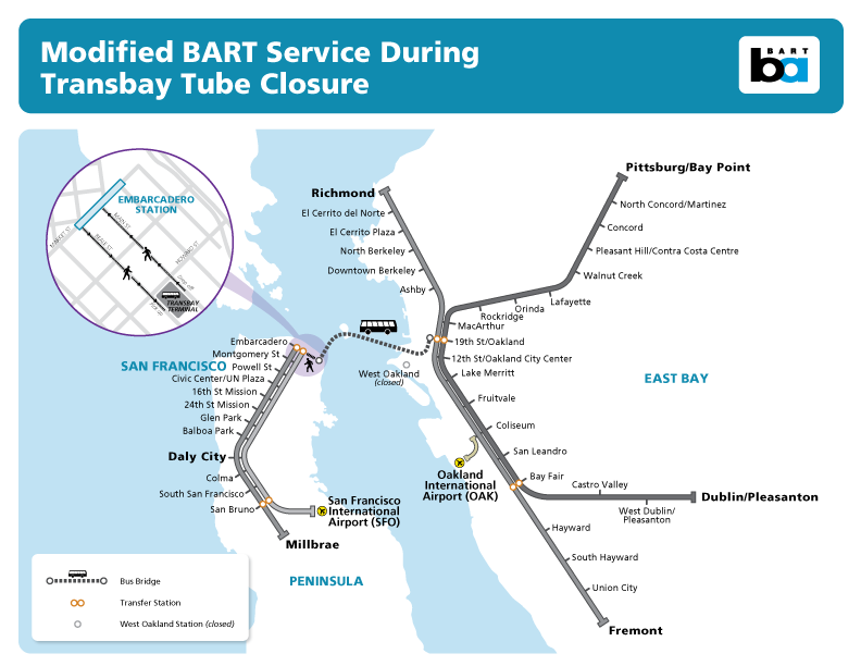 Map of service during transbay shutdown
