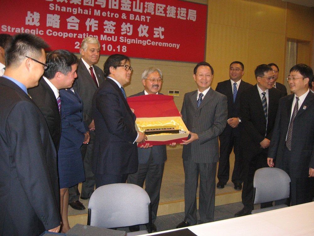 Director James Fang, SF Mayor Ed Lee with Shanghai Metro CEO Yu Guangyao