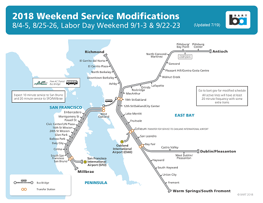 Weekend shutdown map