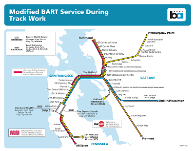 Daly City Bart Map Weekend closures between Daly City & Glen Park Stations: Work is