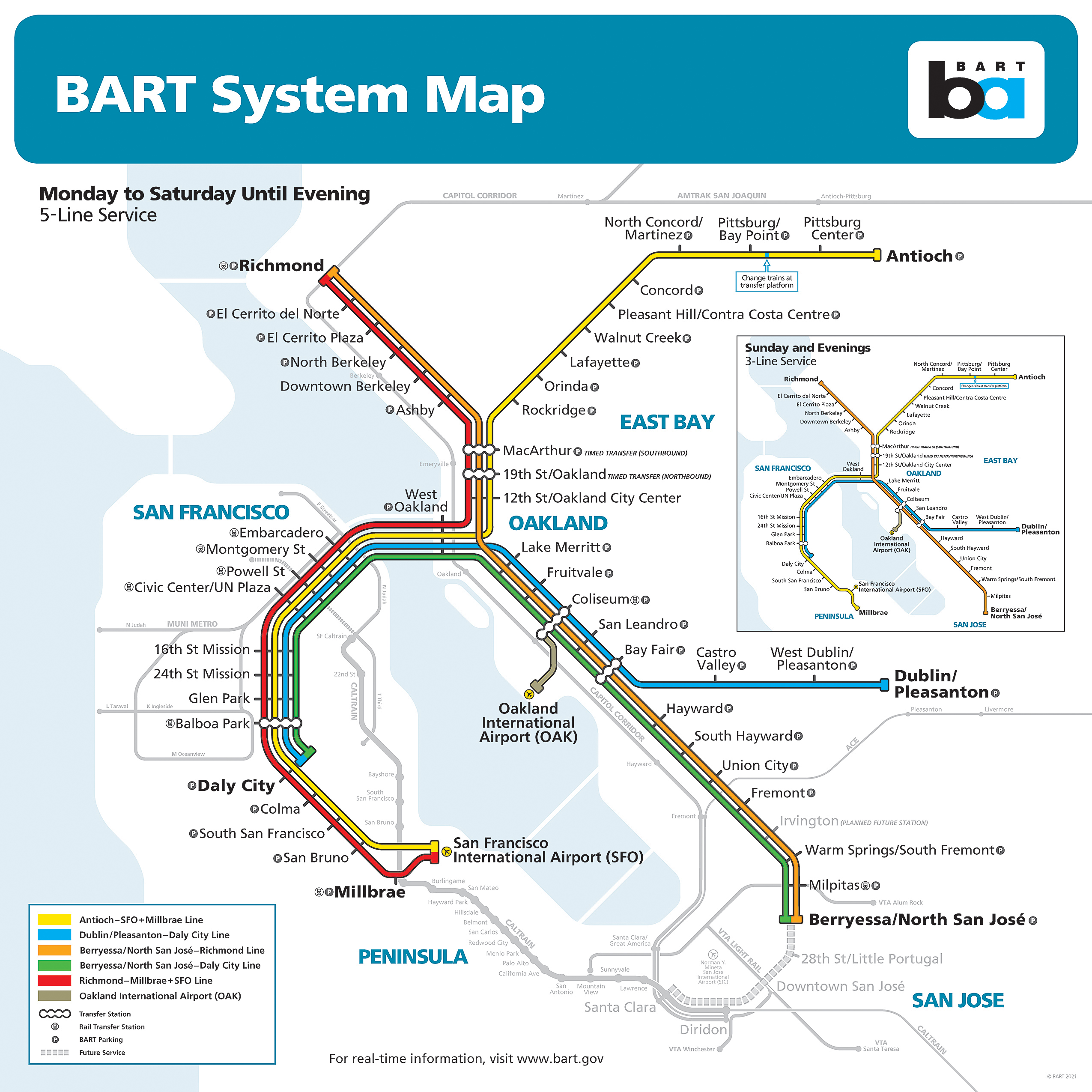 BART system map starting August 2, 2021