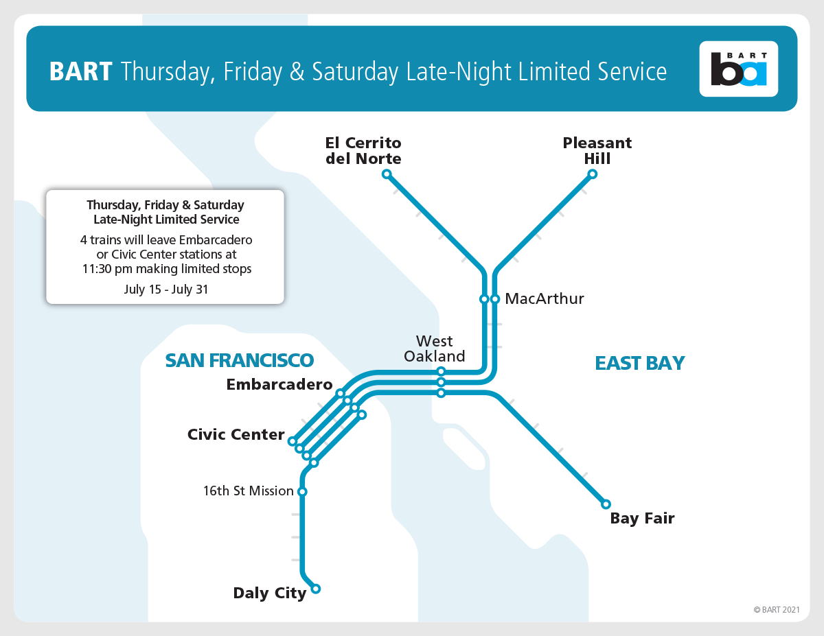 BART late night limited service for July 15-31