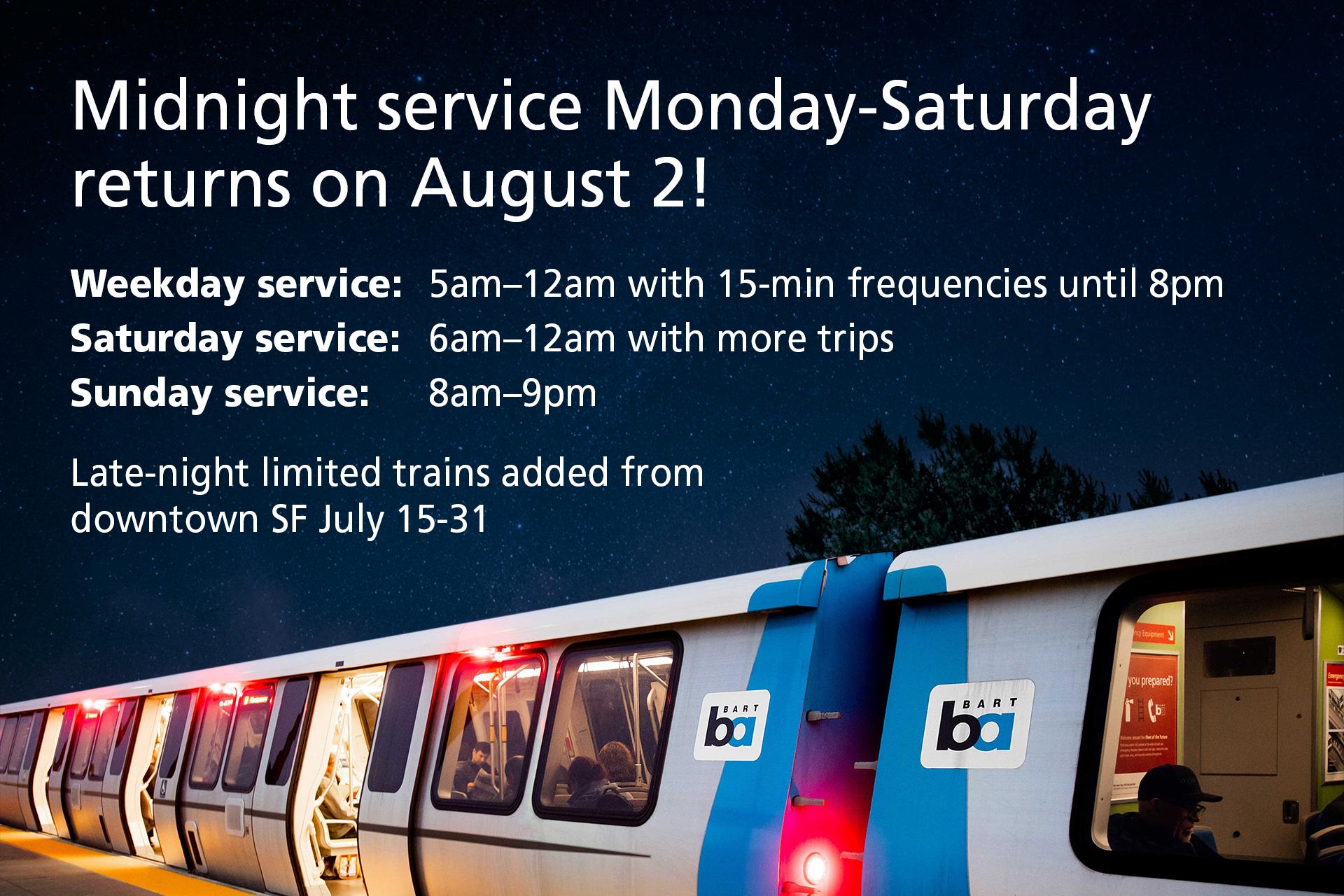 BART evening service returning on August 2