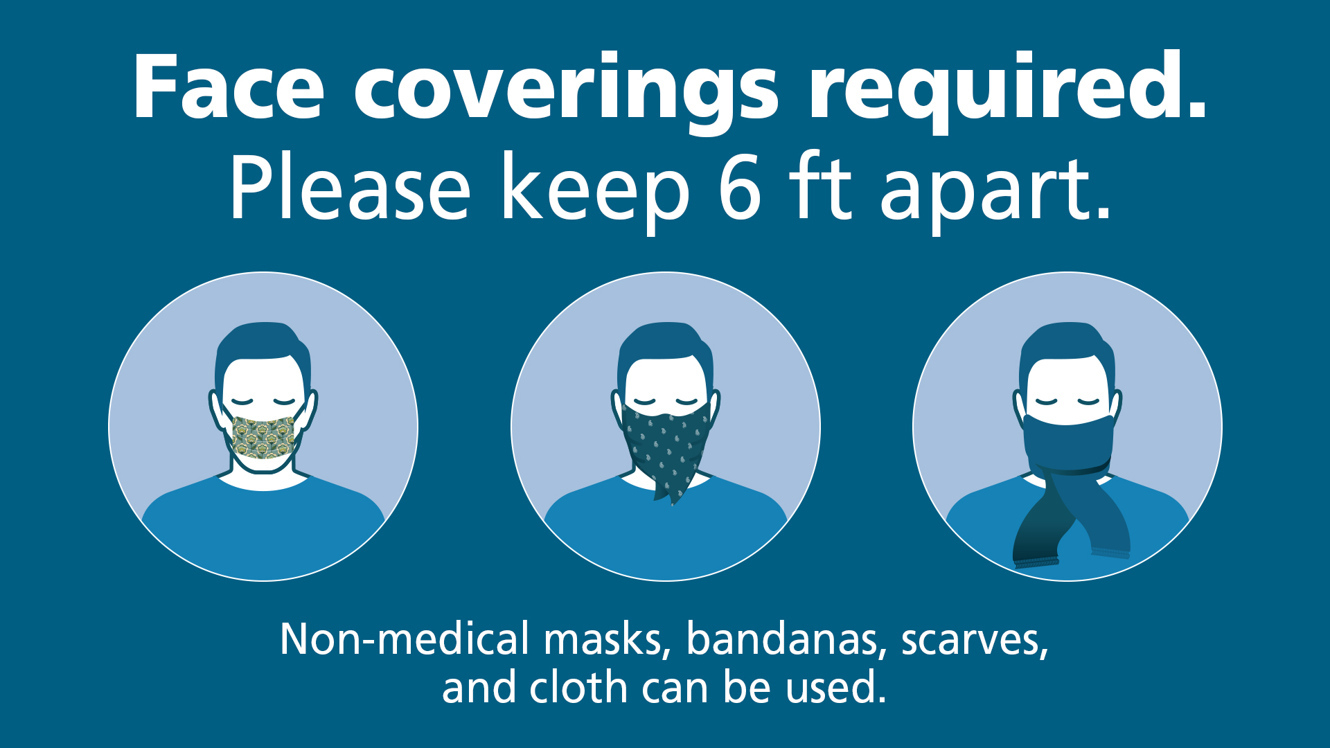 Face coverings required. Non-medical masks, bandanas, scarves, and cloth can be used.