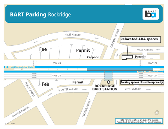 Map of temporary parking changes at Rockridge