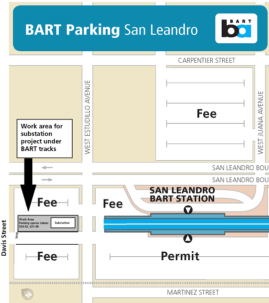 Map of San Leandro parking