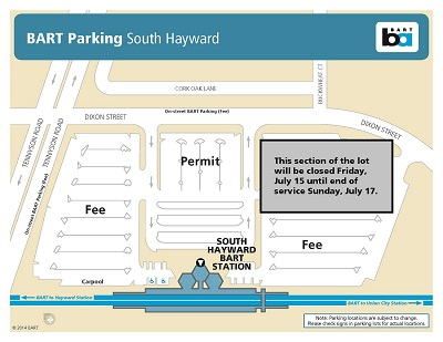 Map of closed section of So. Hayward parking lot