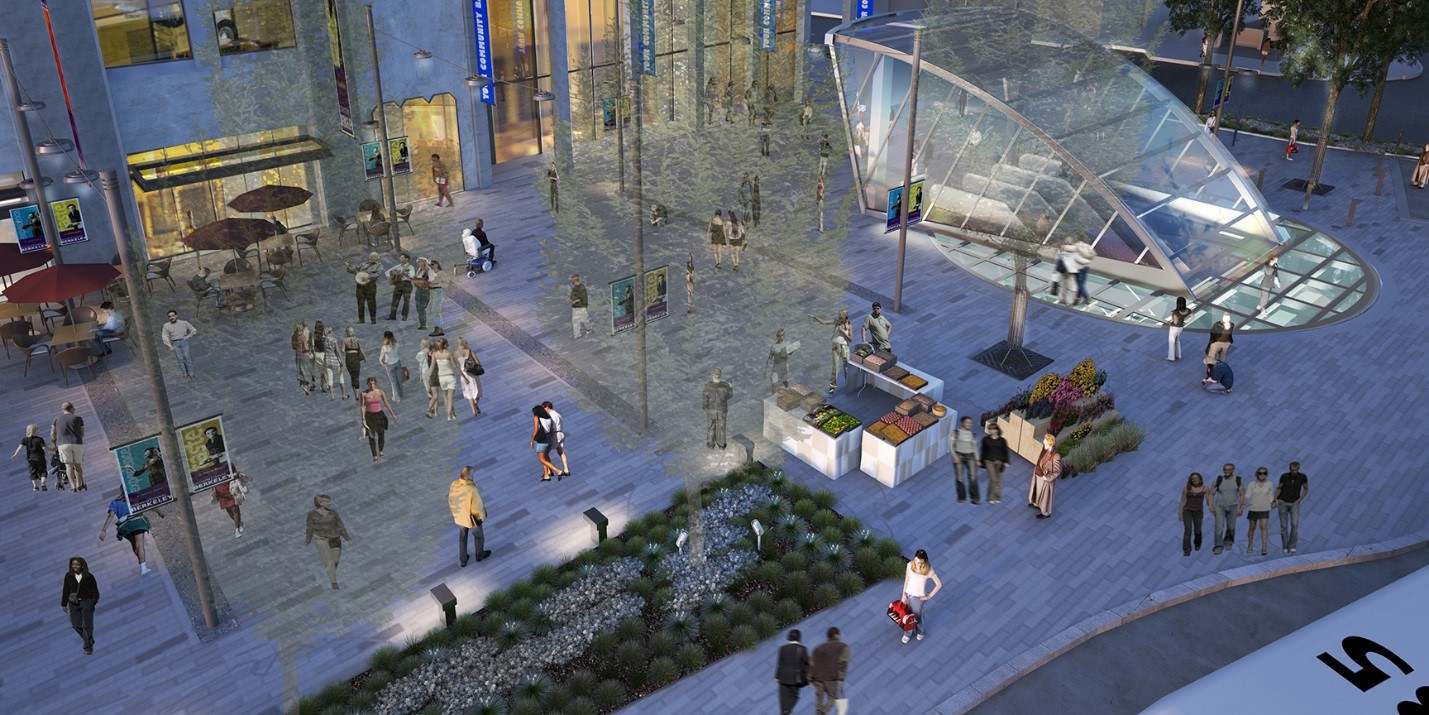 Artist rendering of new plaza