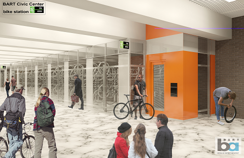 Computer rendering of bike station