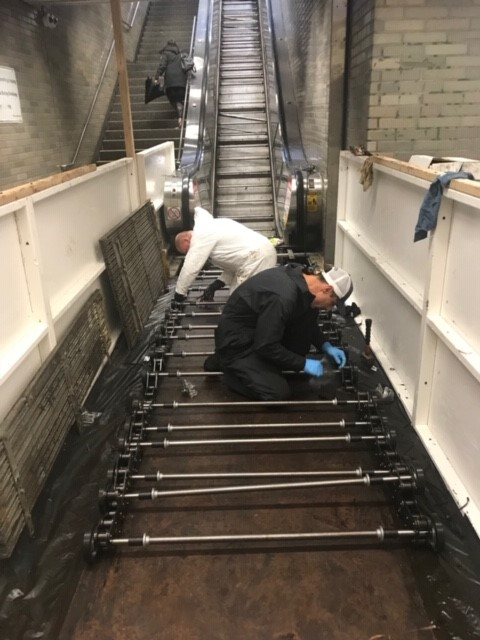 Civic Center escalator work photo