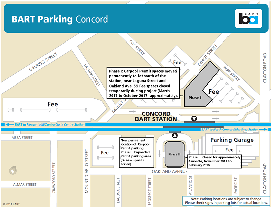 Map of parking changes